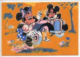 REF 250: CPSM Vers 1965 DISNEY Carte En Velour Mickey Et Mini Pneu Creuvé - Disney