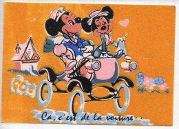 REF 250: CPSM Vers 1965 DISNEY Carte En Velour Mickey Et Mini - Disney