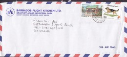 Barbados Air Mail BARBADOS FLIGHT KITCHEN, AIRPORT P. O. 3. 1997 Cover Brief Denmark $1.10 Chattel House Hund Chien Dog - Barbados (1966-...)