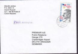 Czech Republic Purple PAR AVION 1999? Cover Brief DRAGOER Denmark Olympic Games Josef Rössler Stamp - Tschechische Republik