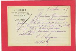 COGNAC 1905 LEHMANN GRAND BAZAR PLACE FRANCOIS Ier A COMMUNEAU A BEAUVAIS OISE CARTE EN BON ETAT - Cognac
