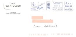 EMA MD 642784 Haute Marne + Flamme Saint Dizier Sur Enveloppe Illustrée De La Mairie - Planche à Voile Glisse Avion - Vliegtuigen