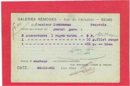 REIMS 1901 GALERIES REMOISES BATAILLE LORIN TRICOT RUE DE L ARBALETE A COMMUNEAU A BEAUVAIS OISE CARTE EN BON ETAT - Reims