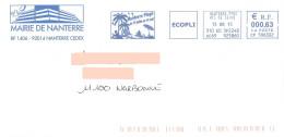 EMA CP 596302 Hauts De Seine + Flamme Nanterre Plage Sur Enveloppe Illustrée De La Mairie - Palmier Parasol - Vakantie & Toerisme