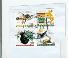 Sweden 1990 Beekeeping - Bloc Of Four, Privat Post Used On Paper - Schweden