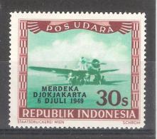 Indonesia 1949 AVION  Overprint Merdeka / Djokjakarta / 6 DJULI 1949 ( 30 S ) MH , Neuf * Michel 160 TB - Indonesia