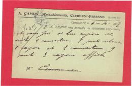 CLERMONT FERRAND 1907 A. CAMUS AMEUBLEMENT A COMMUNEAU A BEAUVAIS OISE CARTE EN BON ETAT - Clermont Ferrand