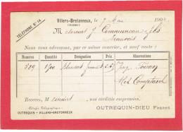 VILLERS BRETONNEUX 1904 MAISON OUTREQUIN DIEU FRERES A COMMUNEAU A BEAUVAIS OISE CARTE EN BON ETAT - Villers Bretonneux