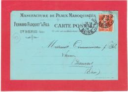 SAINT DENIS 1914 MANUFACTURE DE PEAUX MAROQUINEES FERNAND FLOQUET A COMMUNEAU A BEAUVAIS OISE CARTE EN BON ETAT - Saint Denis