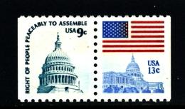 UNITED STATES/USA - 1975  9c.+13c. PAIR EX BOOKLET PERF. 10 HOR.  MINT NH - Stati Uniti