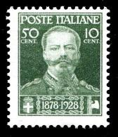 REGNO 1929 Effige Morte Di Vittorio Emanuele II Cent. 50 + 10 C.  MNH ** Integro ! - 1900-44 Vittorio Emanuele III