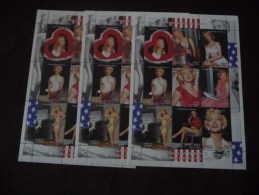 COLLECTION  3  BLOCS  FEUILLETS   NEUF**  CELEBRITE    MARILYN  MONROE    3 SHEETS - Timbres