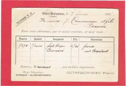 CARTE POSTALE 1908 MAISON OUTREQUIN DIEU FRERES A VILLERS BRETONNEUX SOMME POUR MAISON COMMUNEAU A BEAUVAIS OISE - France