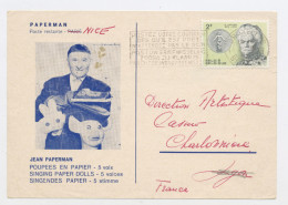 BELGIQUE - N° Yvert 1283 SUR CARTE PRIVÉE DU VENTRILOQUE JEAN PAPERMAN (À VOIR) DU 9/6/64 DE BRUXELLES POUR LA FRANCE - Belgique