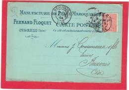 CARTE POSTALE 1904 MANUFACTURE DE PEAUX MAROQUINEES FLOQUET A SAINT DENIS POUR MAISON COMMUNEAU A BEAUVAIS OISE - France