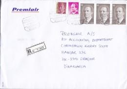 Spain PREMIAIR Registered Certificado Label AEROPUERTO MALAGA 1997 Cover Letra Denmark Juan Carlos Sellos - 1931-Heute: 2. Rep. - ... Juan Carlos I