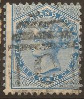 NZ 1874 6d Blue FSF SG 183 U #UH62 - 1855-1907 Crown Colony