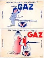Lot De 2 Buvards Gaz Et Appareil Estampillé NF. Eau Chaude Instantané Et Cuisine Avec Le Gaz. - Electricity & Gas