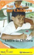 CARTE PREPAYEE-FIDJI-10$-LISTEN TO CHILDREN-31/03/2003-TBE-RARE - Fidji