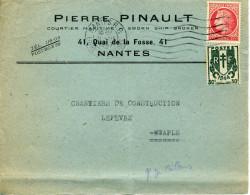 Mazelin 1F N°676 + Chaînes Brisées 30c N°671 NANTES RP 31/3/1947 DEVANT SEUL - Covers & Documents