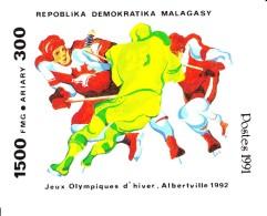 Madagascar MNH Scott #1044 Souvenir Sheet 1500fr 3 Hockey Players - 1992 Winter Olympics Albertville - Madagascar (1960-...)