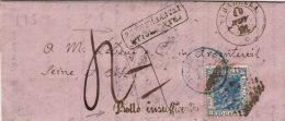 Lettre CaD STRADELLA >> Insuffisant Pour La France 1871 - 1861-78 Victor Emmanuel II.