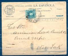 1905 , MADRID , SOBRE CIRCULADO A NEW YORK , MAT. ESTAFETA DEL NORTE , LLEGADA AL DORSO - Cartas