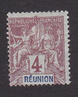 Reunion, Scott #36, Mint Hinged, Navigation And Commerce, Issued 1892 - Unused Stamps