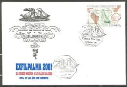 BARCOS , SOBRE Y TARJETA CONMEMORATIVA DE EXFILPALMA 2001 , EL CORREO MARÍTIMO EN LAS ISLAS BALEARES - Barcos