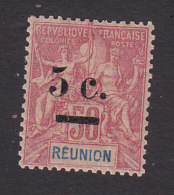 Reunion, Scott #57, Mint Hinged, Navigation And Commerce Surcharged, Issued 1901 - Unused Stamps