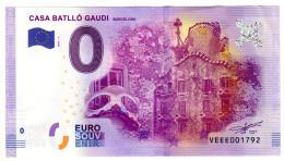 2016-1 BILLET TOURISTIQUE ESPAGNE 0 EURO SOUVENIR N° VEEE001792 CASA BATLLO GAUDI - EURO