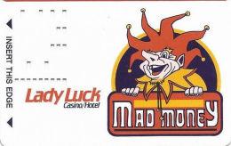 Lady Luck Casino Las Vegas, NV - 2nd Issue Slot Card - Dark Purple Background Around Jester - Casino Cards