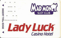 Lady Luck Casino Las Vegas, NV - 9th Issue Slot Card - Line Under Sig - SOLID WHITE  PLASTIC - Casino Cards