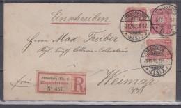 Dt.Reich Ganzsachenumschlag MiNo. U12A ZuF 2x 41 Als R-Fernbrief Strassburg/3.12.89 Nach Weimar - Deutschland