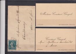 Envel + 2 CARTES De VISITE De POCHEY Par ARNAY Le DUC Cote D Or  Pour CHAUDENAY S.et.L. - 1906-38 Semeuse Camée