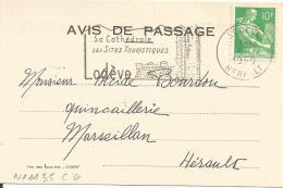 OBLITERATION MECANIQUE SUR CARTE COMMERCIALE DE LODEVE (HERAULT) DU 9/2/1960 - Storia Postale