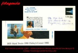 AMERICA. ESTADOS UNIDOS. ENTEROS POSTALES. AEROGRAMA 1985. AEROGRAMA CIRCULADO BOSTON-BOGOTÁ. MARK TWAIN. COMETA HALLEY - Entiers Postaux