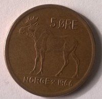 Monnaie - Norvège - 5 Ore 1966 - Superbe - - Norvège