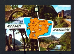 ANDORRA  -  Map And Multi View  Used Postcard As Scans - Andorra