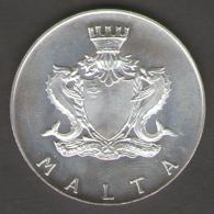 MALTA 4 LIRE MALTESE 1974 AG SILVER - Malta