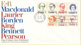 Canada - FDC 17-10-1973 - Freimarken - Premierminister Und Königin Elisabeth II - M 534A-540A - Omslagen Van De Eerste Dagen (FDC)