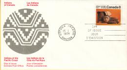 Canada - FDC 16-01-1974 - Indianer (V) - Kunsthandwerk Und Lebensweise Der Indianer Von Der Pazifik-Küste - M 547-548 - Omslagen Van De Eerste Dagen (FDC)