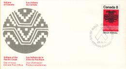 Canada - FDC 22-02-1974 - Indianer (VI) - Kunsthandwerk Und Lebensweise Der Indianer Von Der Pazifik-Küste - M 549-550 - Omslagen Van De Eerste Dagen (FDC)