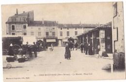 CHEF-BOUTONNE  - Le Marché  - Place Cail. Belle Carte Animée. - Chef Boutonne