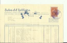 SLOVENIA , LJUBLJANA --  FACTURA, INVOICE  --  SALUS D.d.   --   WITH TAX STAMP, TIMBRE FISCAL  --  1935 - Rechnungen