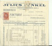 SLOVENIA , MARIBOR --  FACTURA, INVOICE  --  JULIUS FUNKEL.   --   WITH TAX STAMP, TIMBRE FISCAL  --  1935 - Rechnungen