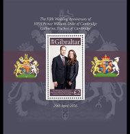 Gibraltar 2016 Miniature Sheet - Fifth Anniversary William And Kate - Gibilterra