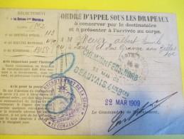 Ordre D'Appel Sous Les Drapeaux/Beauvais / 51éme Régiment D'Infanterie /Meyer/1909  POIL177 - Militaria