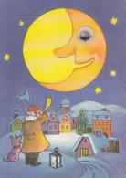 42703- WINTER LANDSCAPE, MAN WITH HORN, DOG, LANTERN, MOON - Künstlerkarten