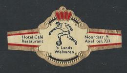 Sigarenbandjes. Sigarenringen. Hotel Café Restaurant 's Lands Welvaren Noorderstraat 9, AXEL. - 2 Scans - Sigarenbandjes